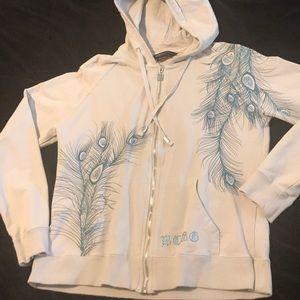 Like new BCBG zip up hoodie w/ peacock design 💜